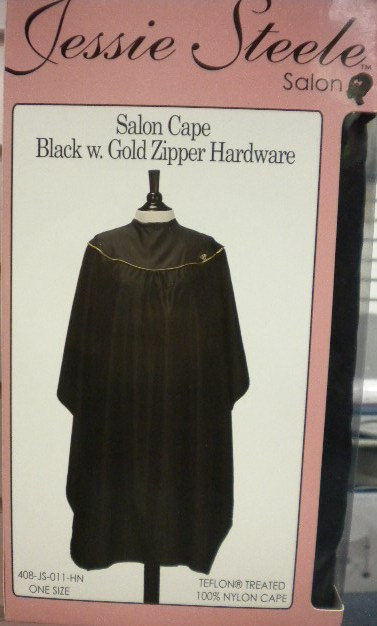 Salon Cape - Black w/ Gold Zipper Hardware
