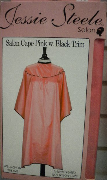 Salon Cape - Pink w/ Black Trim