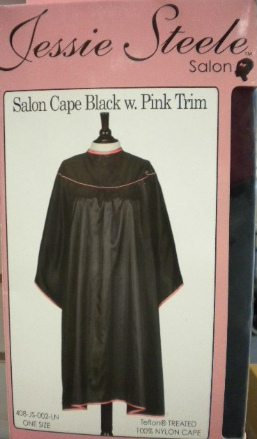 Salon Cape - Black w/ Pink Trim