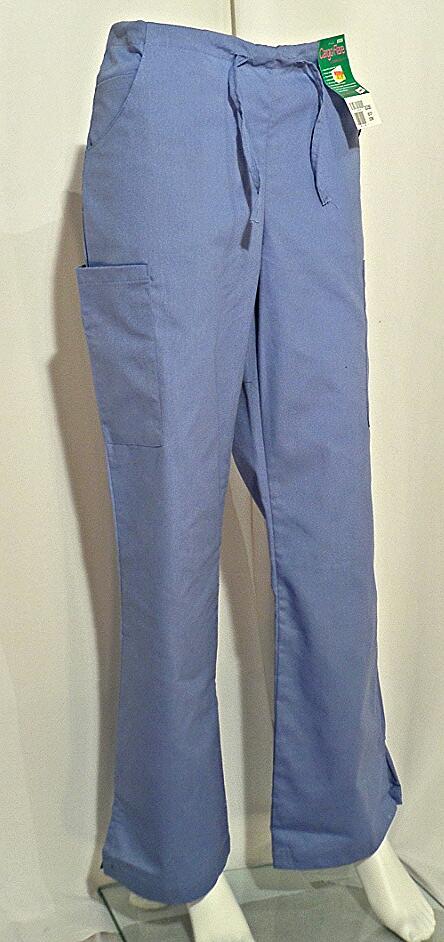 Landau Ceil Blue Drawstring Cargo Flare Pant Scrubs N Such