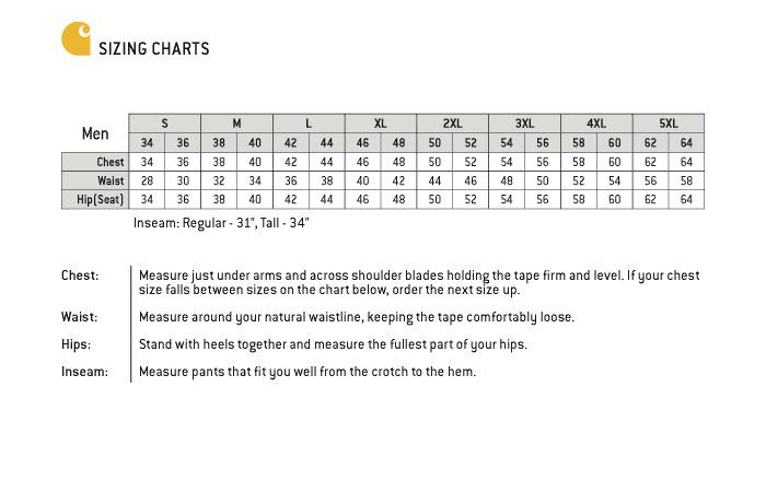 Carhartt Size Chart